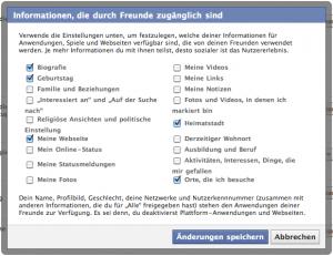 Facebook Privatsphäre-Einstellungen für Daten, die durch Freunde abrufbar sind